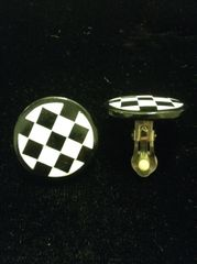 Black & White Checkered Button Clip on Earrings