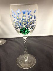Hand Painted Blue Flowers Wine Glass