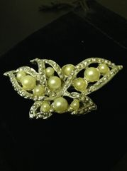 Vintage Abstract Butterfly w/ Faux Pearl Brooch