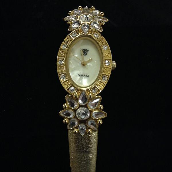 Quartz Anniversary Edition Goldtone Watch w/ Rhinestones