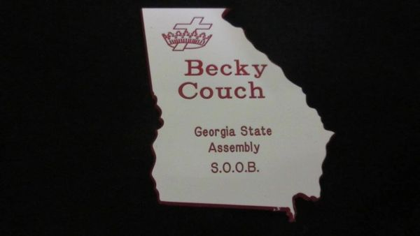 STATE SHAPE CUT OUT ENGRAVED NAME BADGE