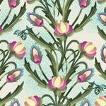 F - Shangri-La Floral Vine, Pink & Blue