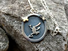 Silver Frog Pendant, Mixed Metal