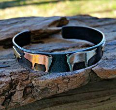 Show Pig Cuff Bracelet, Mixed Metal Skinny Cuff