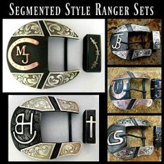Segmented Western Ranger Belt Buckle, 2 or 3-Piece Set