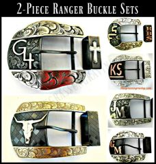 Men's Ranger Belt Buckle Set, 2 Piece Buckle and Keeper Set, Customize to your style