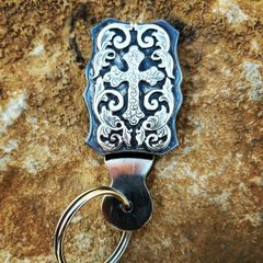 Damascus Steel and Silver Engraved Key Fob