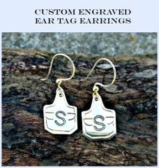 Ear Tag Earrings, Livestock Tag Earrings, personalized