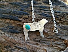Silver and Turquoise Show Steer Pendant
