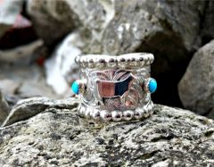 Silver and Turquoise Cigar Band Brand Ring