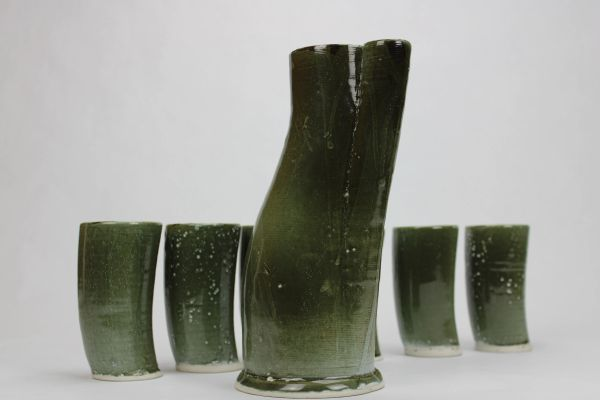 Horn Cups and Pitcher Set