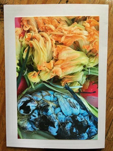 Notecard- Huitlacoche and Flor de Calabasa ( Corn fungus and pumpkin flower)