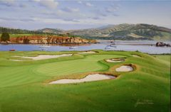 "Original Oil Painting, size 20x30"". Pebble Beach 17th Hole."