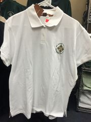 ladies polo shirt with rounded lettering