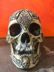 SOLD - Jacques De Molay Human Tribute - Real Human Skull Carved By Zane Wylie