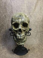 Masonic Templar Knight Carved Skull