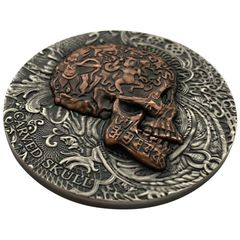 CARVED SKULL 1 oz Silver Coin Antiqued Copper Plated Ultra High Relief 2017