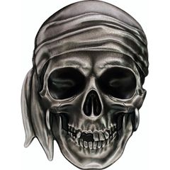 Silver-Coins-PIRATE SKULL High Relief 1 oz Silver Coin antiqued Palau 2017