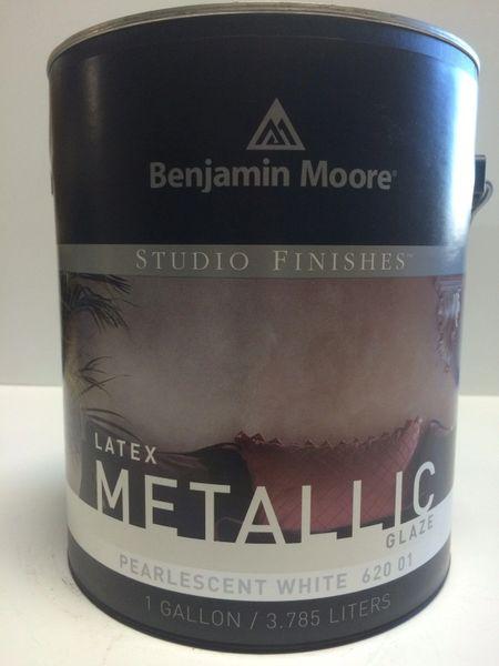 BENJAMIN MOORE STUDIO METALLIC GLAZE PEARLESCENT WHITE GALLON 6200101