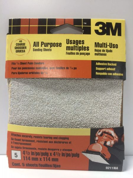 3M 9211NA 4.5'' ADHESIVE BACKED SANDING SHEETS