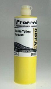 GOLDEN PROCEED SLOW DRY FLUID ACRYLIC HANSA YELLOW OPAQUE 16OZ