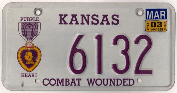 Kansas 2003 Combat Wounded License Plate 6132