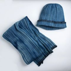 Significant Dates Scarf and Beanie - Indigo dyed