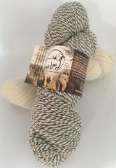 1 ply Gray/2 ply White Wool Sport Weight Yarn - 4 oz skein