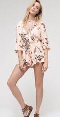 Peach Rayon Floral Detailed Romper