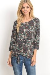 Floral Detailed Front Knot Top