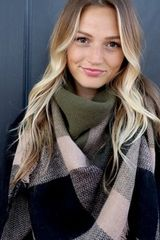 Olive & Plaid Blanket Scarf