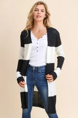 Wide Stripe Long Cardi
