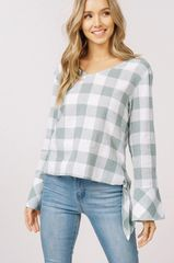 Sage Plaid Bell Sleeve Top