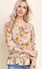 Mustard/Floral Off Shoulder
