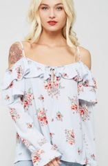 Blue Striped Floral Cold Shoulder