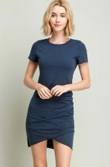 Navy Rouched T-Shirt Dress