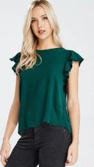 Hunter Green Ruffle sleeve