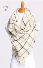 Cream and Black Blanket Scarf