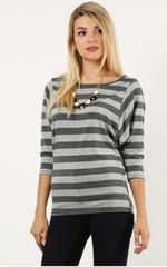 Charcoal Fancy Batwing Stripe