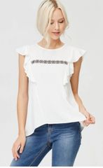 White Ruffle Sleeve Top