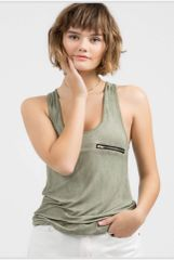 Distressed Zipper Tank