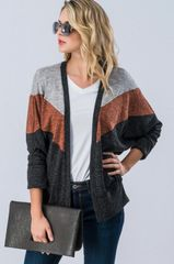 Chevron Color Block Dolman Sleeve Cardigan