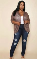 Mocha Sheer Cardigan-Plus