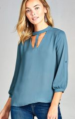 Fancy Blue Halter Blouse