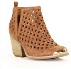 Whiskey Metallic Gold Toe Bootie