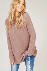 Cozy Mauve Lace Up Knit Tunic