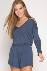 Distressed Washed Romper
