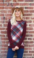 Burgundy Plaid Blouse Plus