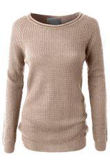 Round Neck Waffle Knit Sweater