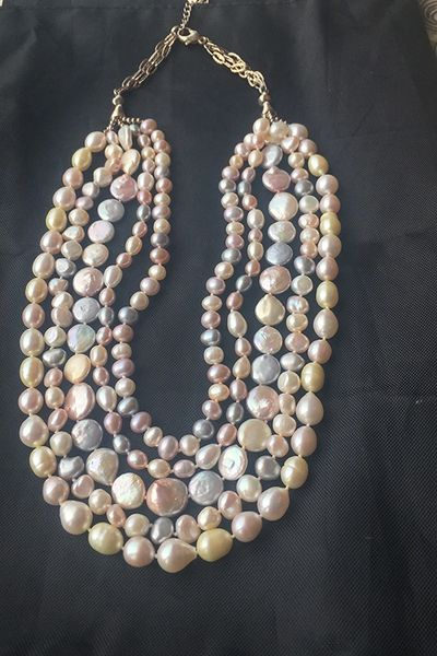 White and Pastel Pearls Necklace- 5 strings